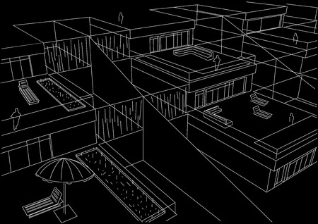 linear architectural sketch terraced houses black background