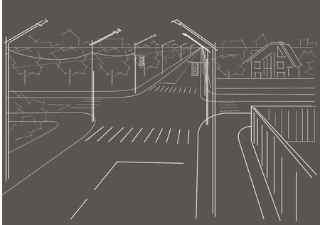 perspectiva lineal: Lineal arquitect�nico bosquejo calles residenciales cruce sobre fondo gris Vectores