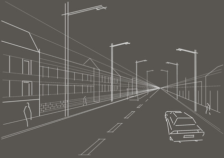 city street: linear architectural sketch city street gray background