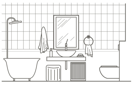 architectural linear sketch bathroom interior front view Stock Illustratie