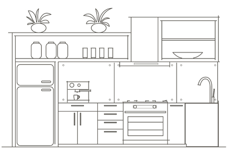 front view: Architectural linear sketch interior small kitchen front view
