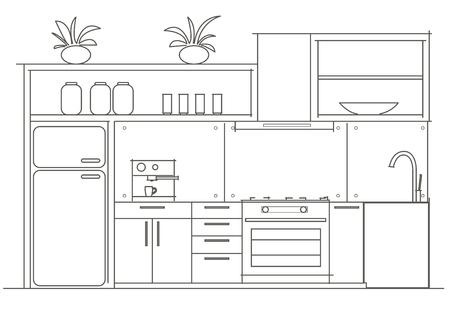 Architektur lineare Skizze Innen kleine Küche Vorderansicht Standard-Bild - 44671171