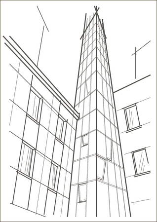 commercial building: linear architectural sketch of skyscraper tower