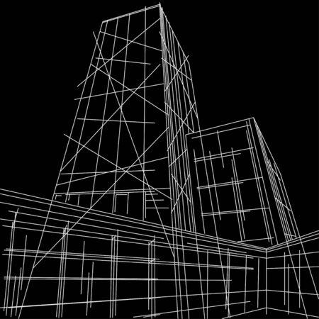 perspectiva lineal: lineal ilustraci�n rascacielos en el fondo negro Vectores