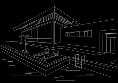 vacation home: architectural linear sketch vacation home with pool black background