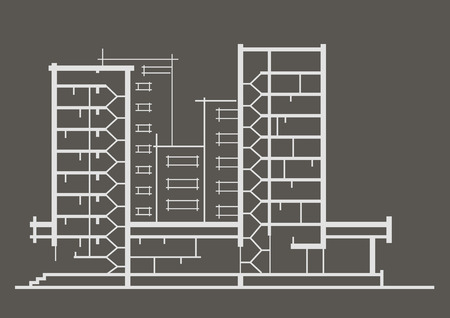 sectional: Linear architectural sketch of multistory building. Sectional drawing on gray background