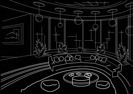 furniture detail: sketch interior round living room with podium black background
