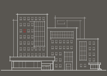 front of house: Linear architectural sketch of multistory building with red window front view on gray background Illustration