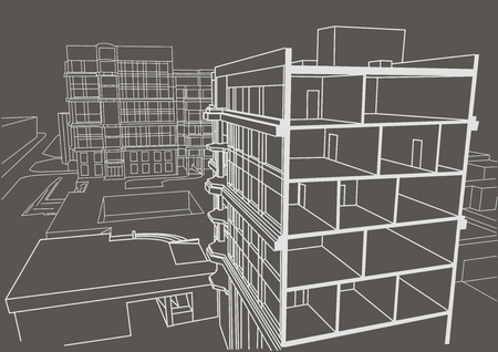 sectional: Architectural linear sketch multistory apartment building. Sectional drawing on gray background