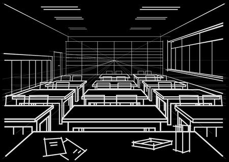 perspectiva lineal: lineal aula interior bosquejo arquitectónico en fondo negro
