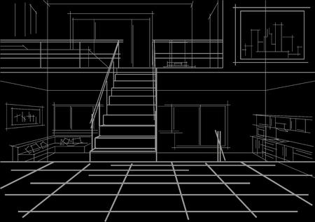 modern interior: linear sketch modern interior flat in tree levels on black background Illustration