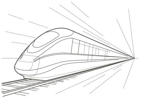 Linear croquis train à grande vitesse Banque d'images - 44672770