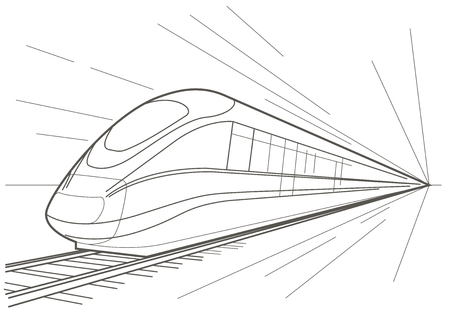 high speed railway: Linear sketch high speed train