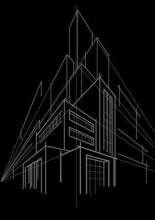 multistorey: abstract linear sketch multi-storey building on black background