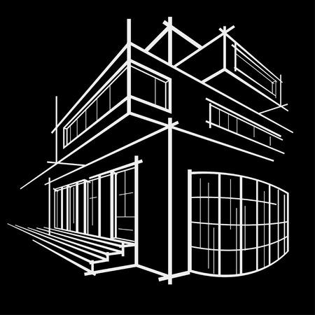 building sketch: architectural linear sketch modern building on black background