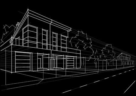 row houses: Linear architectural sketch blocked houses on black background