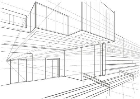 building sketch: Architectural sketch of a cubic building Illustration