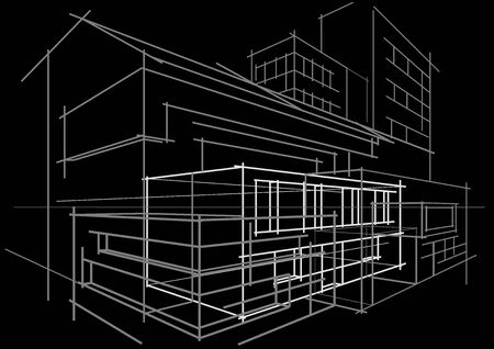 building sketch: Linear architectural sketch concept abstract building on black background