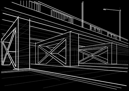 간접비: Linear architectural sketch overhead road on black background