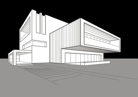 building sketch: linear sketch of modern building on gray-black background Illustration
