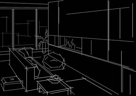 modern interior: Linear sketch modern interior on black background Illustration
