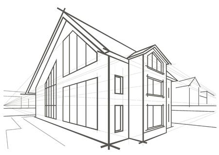 detached: Bosquejo de la casa unifamiliar de arquitectura lineal