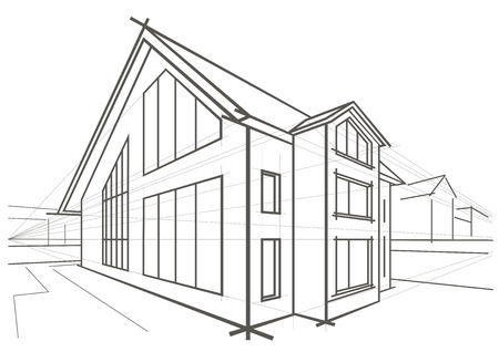 detached: Linear architectural sketch detached house
