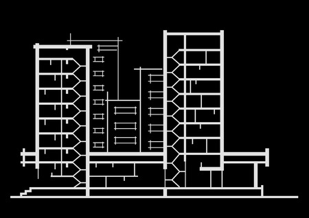 sectional: Linear architectural sketch of multistory building. Sectional drawing on black background