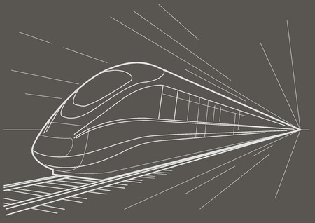 high speed railway: Linear sketch high speed train on gray background Illustration