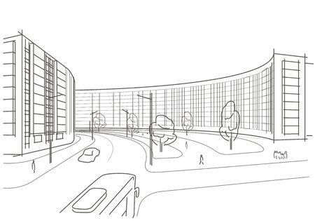 Architektur Skizze Der Strasse Treppe Auf Grauem Hintergrund