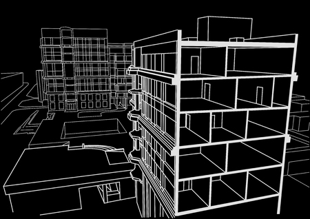 sectional: Architectural linear sketch multistory apartment building. Sectional drawing on black background