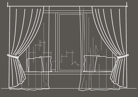 cushions: Linear architectural sketch big window with curtains and cushions on gray background Illustration