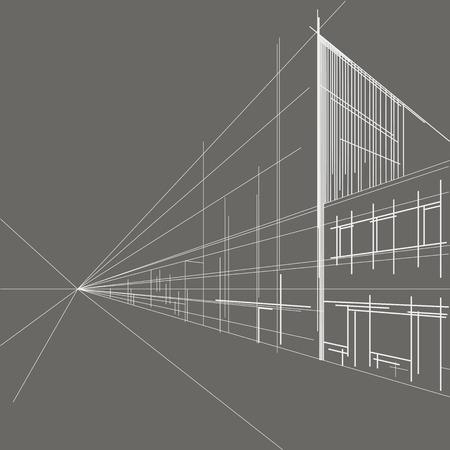 회색 배경에 거리의 선형 건축 스케치 관점