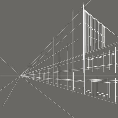 building sketch: linear architectural sketch perspective of street on gray background