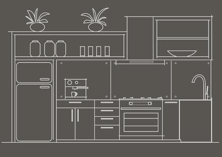 perspectiva lineal: Architectural vista interior boceto lineal pequeña delante de la cocina sobre fondo gris