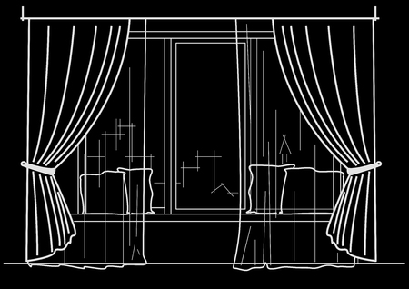 cushions: Linear architectural sketch big window with curtains and cushions on black background