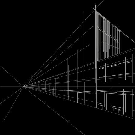 perspectiva lineal: perspectiva bosquejo arquitect�nico lineal de calle en fondo negro Vectores