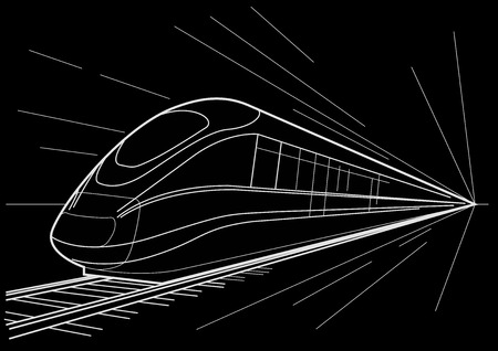 high speed: Linear sketch high speed train on black background