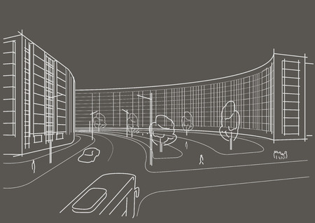 town square: Linear architectural sketch town square on gray background