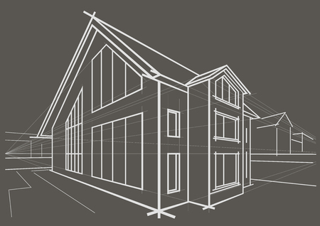 detached: Linear architectural sketch detached house on gray background