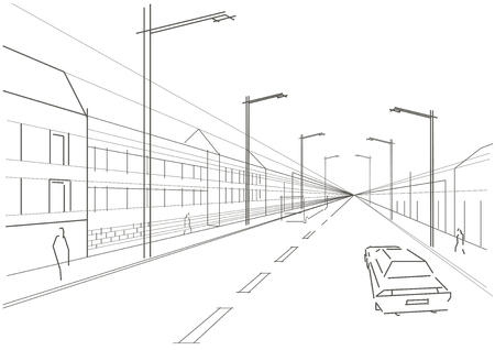 perspectiva lineal: fondo blanco lineal calle arquitect�nico bosquejo ciudad