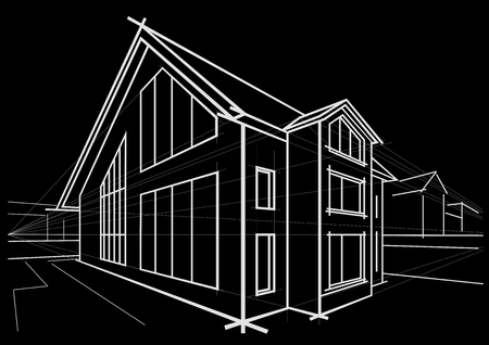 detached house: Linear architectural sketch detached house on black background