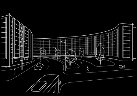 architectural design: Linear architectural sketch town square on black background