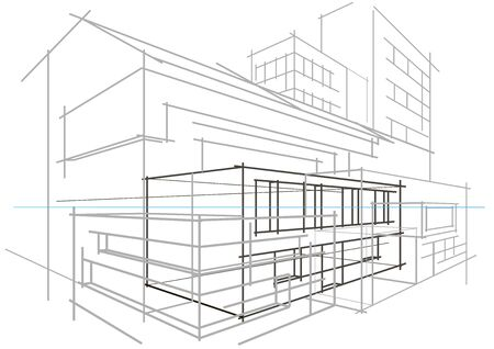 abstract building: Linear architectural sketch concept abstract building light grey