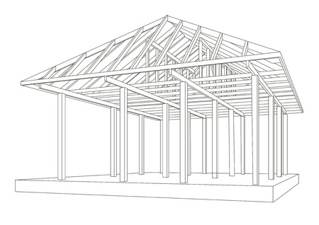 perspectiva lineal: Linear architectural sketch wood frame perspective Vectores
