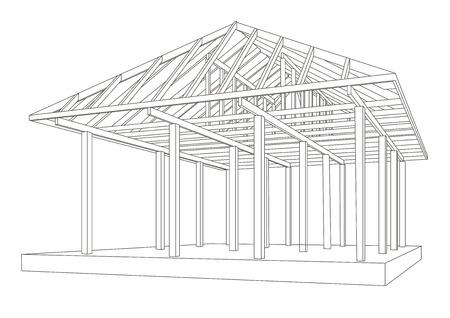 wood frame: Linear architectural sketch wood frame perspective Illustration