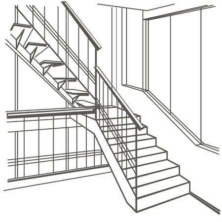 stairs interior: linear architectural sketch interior stairs on white background Illustration