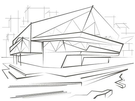 building sketch: architectural linear sketch modern building on city background Illustration