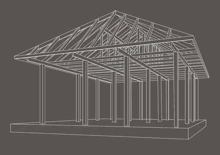 perspectiva lineal: Linear architectural sketch wood frame perspective on gray background
