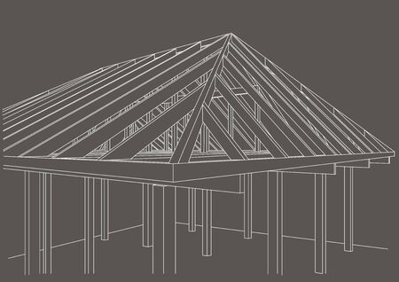 wood frame: Linear architectural sketch wood frame house on gray background